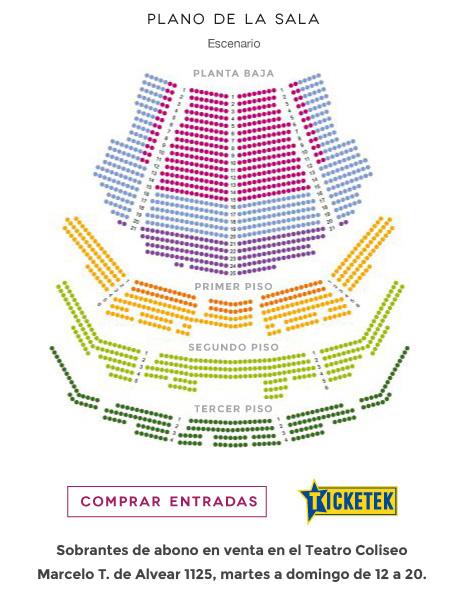 Plano de la sala Teatro Coliseo Comprar entradas Ticketiek Sobrantes de abono en venta. Marcelo T. de Alvear 1120 lunes a viernes 11 a 19